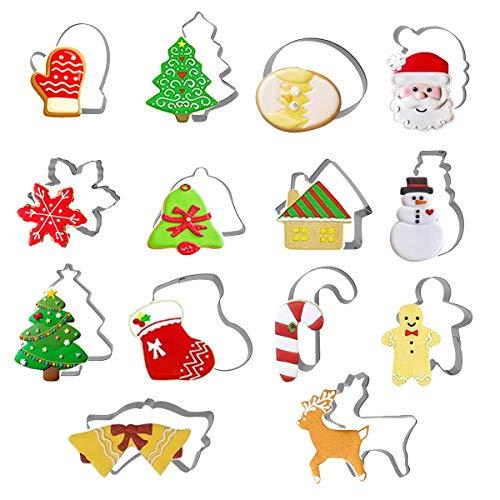 Zliger 14 Pièces Emporte-Pièce Noel Acier Inoxydable Biscuit Moule Noël Emporte-Pièces Moule à Biscuits Forme Noel pour Gâteau Fondant Pâtisserie Cookie Decoupoir