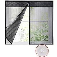蚊帳カーテン, グラスファイバー 網戸 簡単取り付け 自動で閉ま 虫よけ 蚊取り-黒-140x150cm(55x59inch)