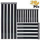 Gancho y bucle correas, ZoneYan 20 piezas ajustable cierre de cable ties organizador negro