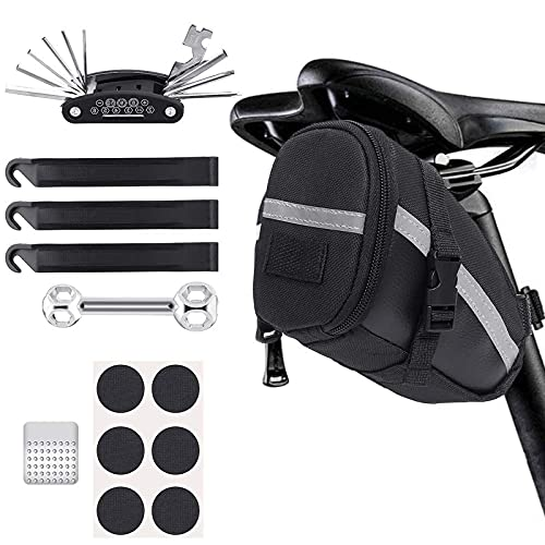 litulituhallo Kit de herramientas de reparación de almacenamiento para sillín de bicicleta