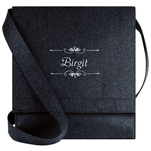Halfar® Tasche mit Namen Birgit bestickt - personalisierte Filz-Umhängetasche
