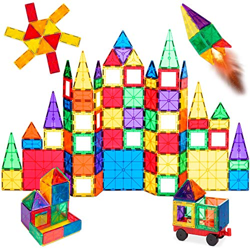 Best Choice Products 110-Piece Kids Colorful Magnetic Tiles Set 3D Construction Magnet Building Blocks Educational STEM Toy with Carrying Case