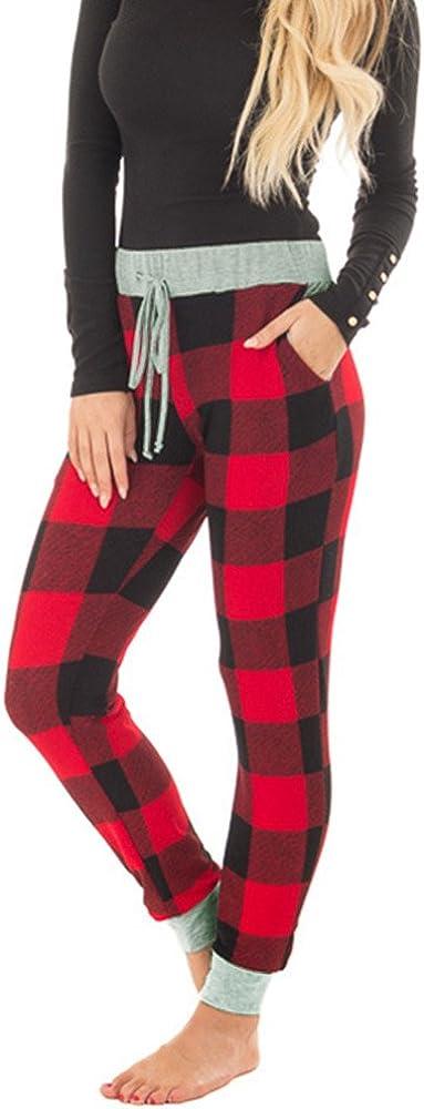 Tutorutor Womens Plaid Jogger Pants Ugly Christmas Lounge Sleep Sweatpants Stretch Pant