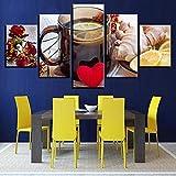 vvff Pinturas en Lienzo para Arte de Pared de Cocina 5 Piezas Cartel de té de limón y Jengibre de Frutas Impresiones HD imágenes decoración del Restaurante del hogar