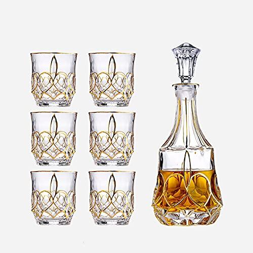 TBUDAR Decantatore di Vetro da 7 Pezzi con Tappo per Bottiglie (1 Decanter + 6 Tazze) Vetro Senza Piombo Vino Vino Vino Set di Vino Adatto per Whisky Wine Tequila Brandy, ECC. 820ml