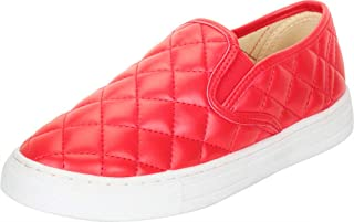 Cambridge Select Women's Round Toe Slip-On Quilted Stretch Fashion Sneaker