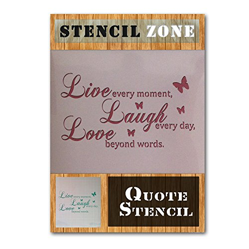 Live Every Moment Vintages Shabby Chic-Mylar Malerei Wall Art Schablone (A4 Größe Stencil - Small)
