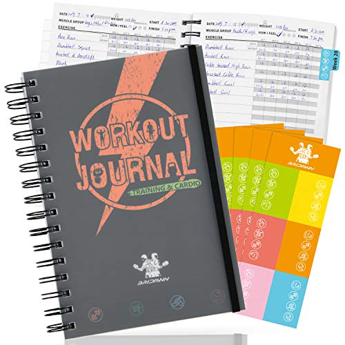 bridawn Fitness Journal Workout Planners 24 Weeks Tracker with Waterproof Cover Elastic Strap Free Stickers for Daily Exercise and Food Tracking
