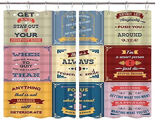 JISMUCI Cortinas para Cocina Cotizar Colección Motivacional Imprimir Cortinas de Ventana Ganchos de Metal Juego de 2 Paneles para decoración de café de casa 140x100CM