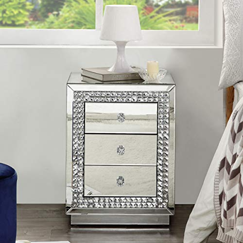 Mirrored Nightstand, Crystal End Table with 3-Drawers, Large Mirror Accent Silver Table, Bedroom Mini Cabinet from Mireo Furniture