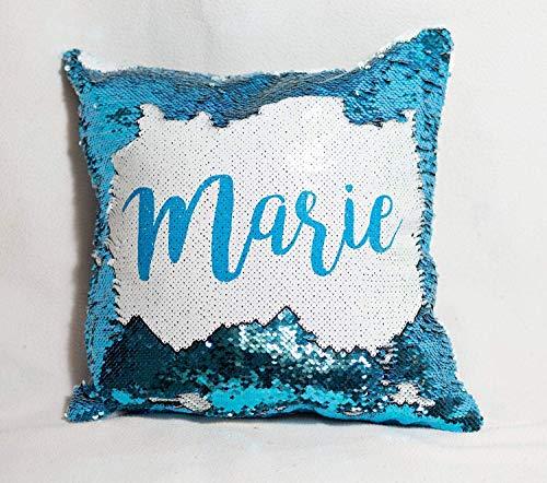 Pailletten Kissen personalisiert mit Namen, Spruch oder Text/Namenskissen mit Wendepailletten