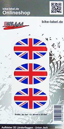Bike Label 300506N - Pegatina en 3D (50 x 25 mm), diseño de Bandera de Reino Unido