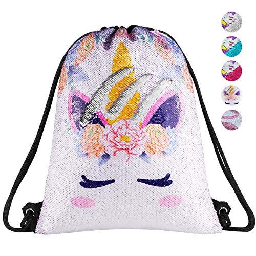 Unicorn Gift Sequin Drawstring Bag Mermaid Sequin Gym Dance Bags Magic Reversible Glitter Backpack Sparkly Flip Sequin School Bag Shoulder Bag Travel Bag Birthday Gift for Girls Daughter Boy kids Teen