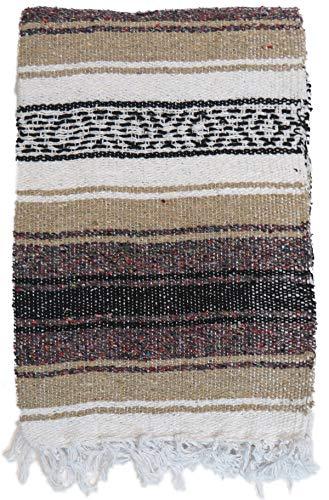 DistinctLook Mexikanische Falsa Decke/Überwurf, Teppich, 6 Farben, handgewebt, recyceltes Garn, Yoga, Meditation, Camping, Picknick, Festival (Beige mit bunten Punkten)