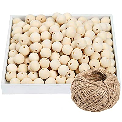 300 Pieces 20mm Unfinished Wooden Bead Natural Wood Beads Natural Color Round Loose Wood Spacer Beads for DIY Crafts Making, Necklace Making(Additional Hemp Rope)