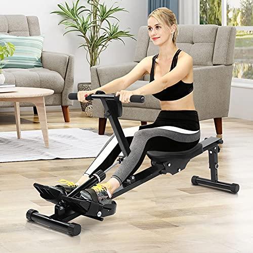 Cikonielf Máquina de remo profesional para fitness, máquina de remo plegable para casa, máquina deportiva con pantalla, máquina de remo de fitness ajustable, 129,5 x 21 x 65 cm