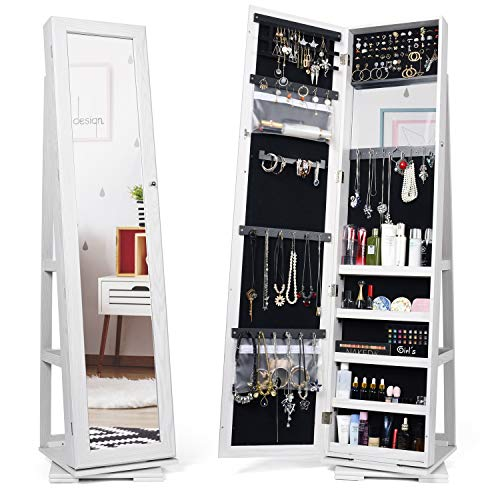 Titan Mall Armoire Jewelry Cabinet Standing Jewelry Organizer Jewelry Armoire with Mirror 360 Rotating Mirrored Jewelry Cabinet Armoire Mirror with Jewelry Storage, White