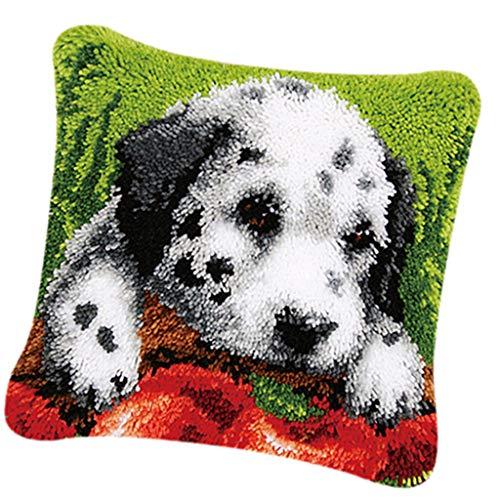 FLAMEER Knüpfkissen-Kits Deko-Kissenbezug selber Kissen Knüpfen für Kinder und Erwachsene- Hund/Katze Muster - Spot Dog