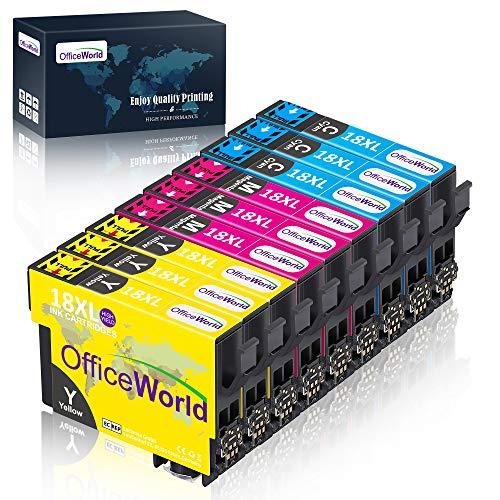 OfficeWorld Ersatz für Epson 18 18XL Druckerpatronen Hohe Kapazität Kompatibel für Epson Expression Home XP-322 XP-412 XP-305 XP-312 XP-405 XP-425 XP-325 XP-225 XP-215 (3 Cyan, 3 Magenta, 3 Gelb)