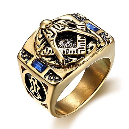 Punk Vintage Past Master Masonic AG Signet Anillos de piedra azul Hombres Color dorado 316L Acero inoxidable Mason Cool Anillos para hombres Street 9
