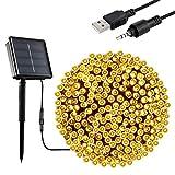 Guirnalda Luces Exterior Solar, OxyLED 200 LED Luces Solar de Navidad 8 modos USB Recargable Solares Cadena de Luces Decoración Iluminación para Arbol de Navidad, Jardín, Boda (blanco cálido)