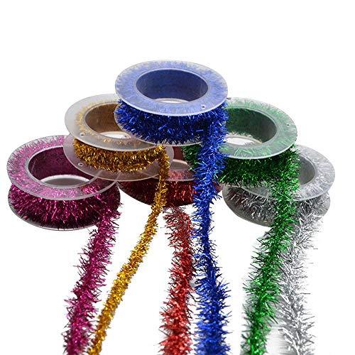 COOGG 2 m/rol 1 mm breed metalen folie lametta band slinger DIY cadeau wrap kerstboomversiering voor Nieuwjaar Kerstmis party supplies * 6 stuks