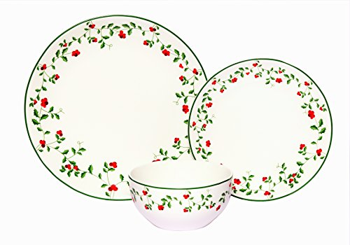 Melange Coupe 36-Piece Porcelain Dinnerware Set (Berries) | Service for 6 | Microwave, Dishwasher & Oven Safe | Dinner Plate, Salad Plate & Soup Bowl (12 Each)