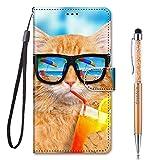 Grandoin Custodia per Samsung Galaxy Note 20 Ultra 5G / 4G, Custodia Flip Case Portafoglio Cover in con Chiusura Magnetica + TPU Silicone Posteriore per Galaxy Note 20 Ultra 5G/4G (Soda Gatto)