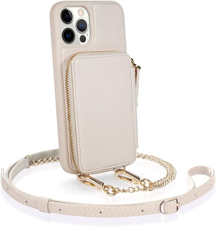 ZVE iPhone 12 Pro Max RFID Blocking Crossbody Wallet Case, Zipper Phone Case with Card Holder Wrist Strap Purse Cover Gift for Women Compatible with iPhone 12 Pro Max, 6.7 inch, 2020-Beige
