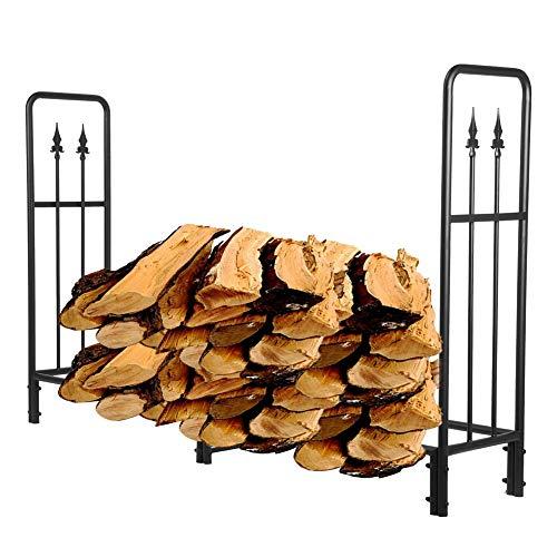 Kaminholzregal Kaminholzunterstand Kaminholzhalter aus Metall Hochleistungs Holzlagerregal für den Außenbereich Stahlbrennholzregal Platzsparend für Blockholz, 184 x 35 x 113,5 cm