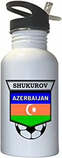 Mahir Shukurov (Azerbaijan) Soccer White Stainless Steel Water Bottle Straw Top