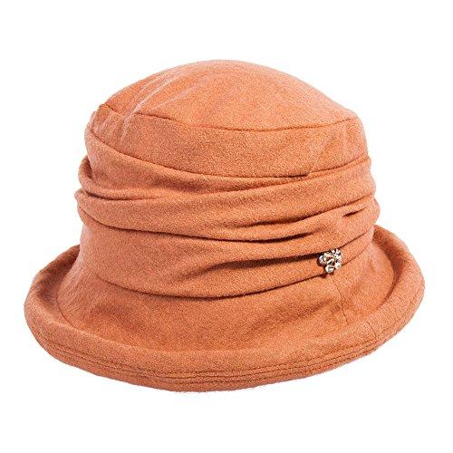 Comhats Comhats Wolle 1920s Retro Glockehut Fischerhut für Damen Klassisch klappbar Bowler Hut Winter orange