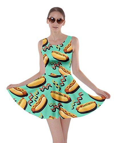 CowCow Womens Mint Hot Dog Skater Dress, Mint - M