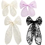 4 Pieces Lace Bow Hair Clips Cute Handmade Hair Bow Barrette Embroidery Lace Hairpins Korean Style Flower Hair Accessories Hair Decor for Women Girls Wedding Party, White, Black, Beige, Purple