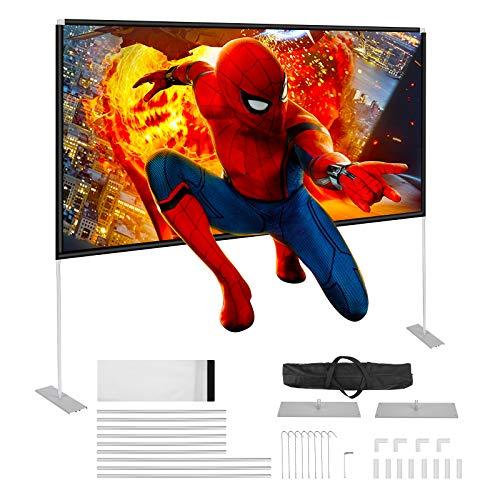 Powerextra HD 16: 9 100 Zoll Projektion Leinwand mit Stand - kompakte Tasche Faltbar Projektionswand für Heimkino, Camping und Freizeitveranstaltungen