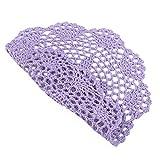 Cotone canalizzato rotondo fatto a mano intessuta tovagliette all'uncinetto centrini pizzo sottobicchieri, viola chiaro