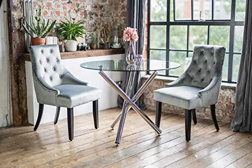 COKUTM Maia Ronde Gehard Glas Eettafel Set met 2 Grijze Portia-stoelen/Tafel Chroom Benen Moderne Hedendaagse Meubels