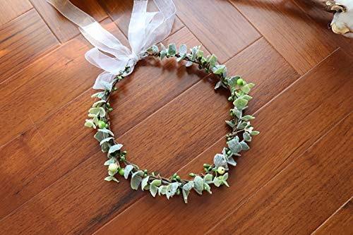Diadema de corona de flores de bayas, corona de flores, diadema para mujer, accesorios para el cabello, tocado floral, boda, diadema floral (color: lavanda, tamaño: ajustable)