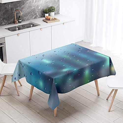 Fansu Antimanchas Mantel para Mesa Rectangular, Gota de Agua impresión 3D Mantel Impermeable Lavable Poliéster - Adecuado para Decorar Cocina Comedor Salón (Efecto Cristal,140x180cm)