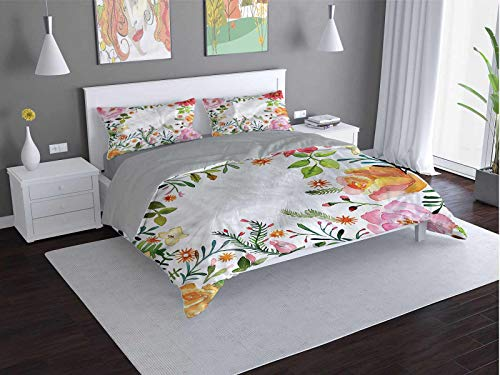Toopeek Flower hotel bed linen Shabby-Chic-Romantic-Spring polyester - soft and breathable (King)