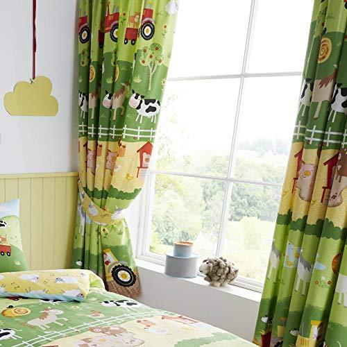 Set de Cortinas Infantiles de galón Fruncido - Animales de Granja- Verde/Amarillo - 168 x 183 cm