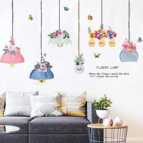 Cat 3D Stereo Wandaufkleber Hintergrund Wandaufkleber Schlafzimmer Wanddekoration selbstklebend-Flower Kronleuchter (man kann 6 Kronleuchter anbringen) _Extra groß
