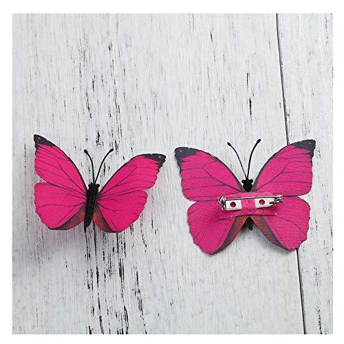 NO BRAND KAERMA Tela Pin broches etéreo Color de la Mariposa de Plata Azul Fucsia Bolsas for la Ropa de Vestir Accesorios de la decoración Accesorios de Moda (Color : Red)