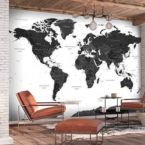 decomonkey Fototapete Weltkarte 400x280 cm Design Tapete Fototapeten Vlies Tapeten Vliestapete Wandtapete moderne Wand Landkarte Kontinent schwarz weiß