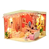 HEYANG Dream House Series, DIY Wooden Miniature Dollhouse, LED Lights for Adults and Kids, Wooden Hand Assembled Doll House, 3D House Puzzle Model (Pink)