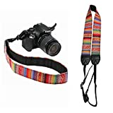 Kiwochy Tracolla regolabile per fotocamera in pelle, stile vintage, per fotocamere reflex e fotocamere reflex digitali estremità in pelle e anelli di montaggio elettroplaccati lunghezza totale 144cmA