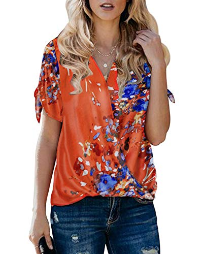 Xineppu Womens Summer Boho Floral Printed Shirt Short Sleeve V Neck Wrap Blouses Red