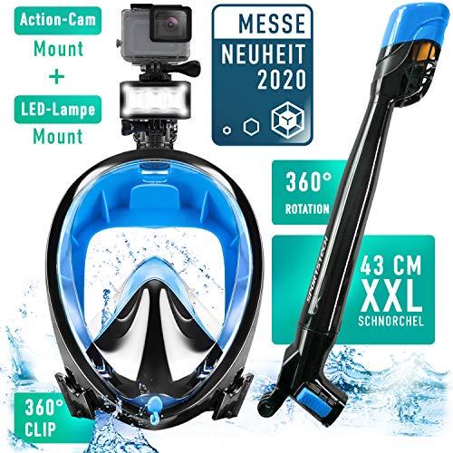 Sportstech Sommertrend 2020! CO2 sichere Schnorchelmaske mit 360° Schnorchel, Easybreath Tauchmaske für Kinder und Erwachsene, LED & Kamerahaltung zum Schnorcheln, Panorama Vollgesichtsmaske SNX650