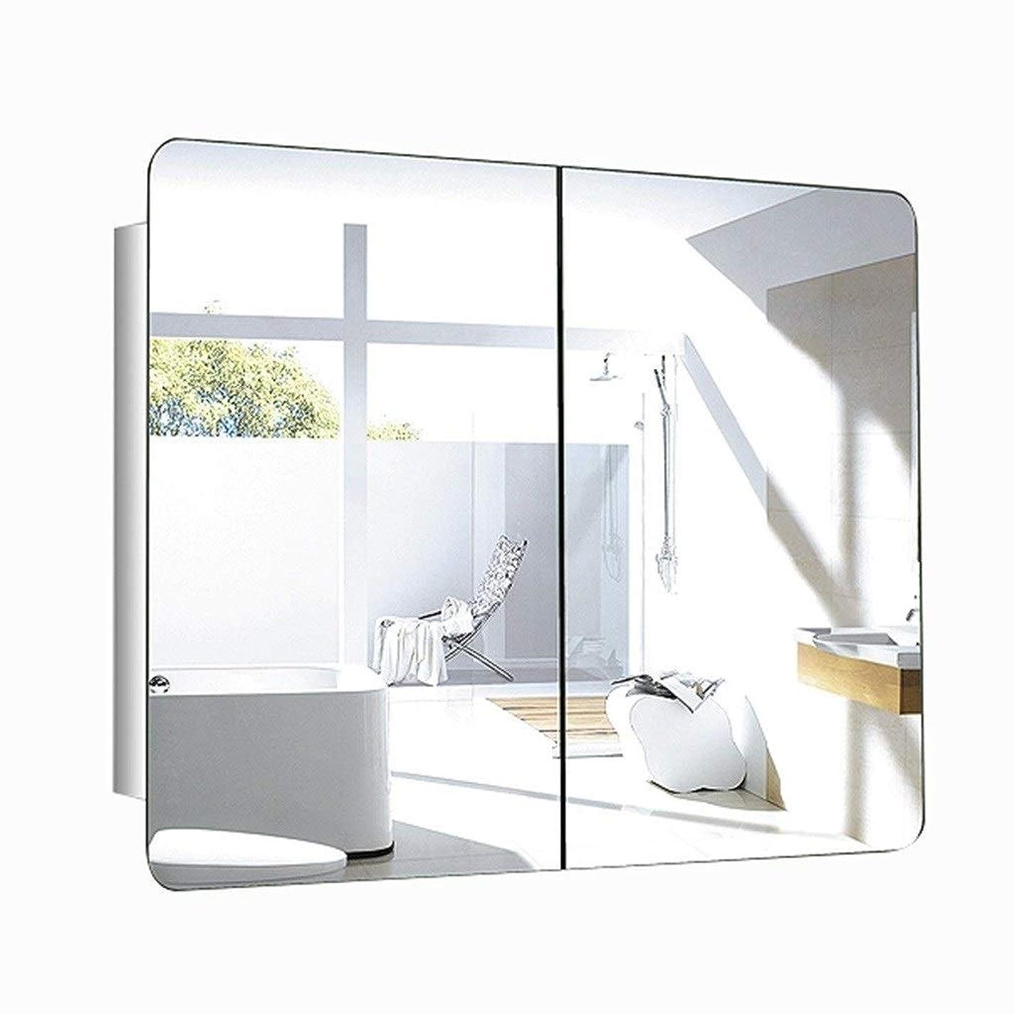 十デモンストレーショングッゲンハイム美術館鏡台?ドレッサー 浴室のミラーキャビネット ステンレス鋼の表のミラーキャビネット ベッドルームミラーキャビネット 長方形のミラーキャビネットドレッシング (Color : A, Size : 80*60*13CM)