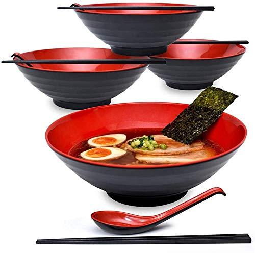 Kjbzlxj Juego de 2 cuencos de sopa de estilo ramen, con palillos mágicos y cucharas para pasta de ramen, juego de 42 onzas Pho Udon cada cuenco de Ramen.